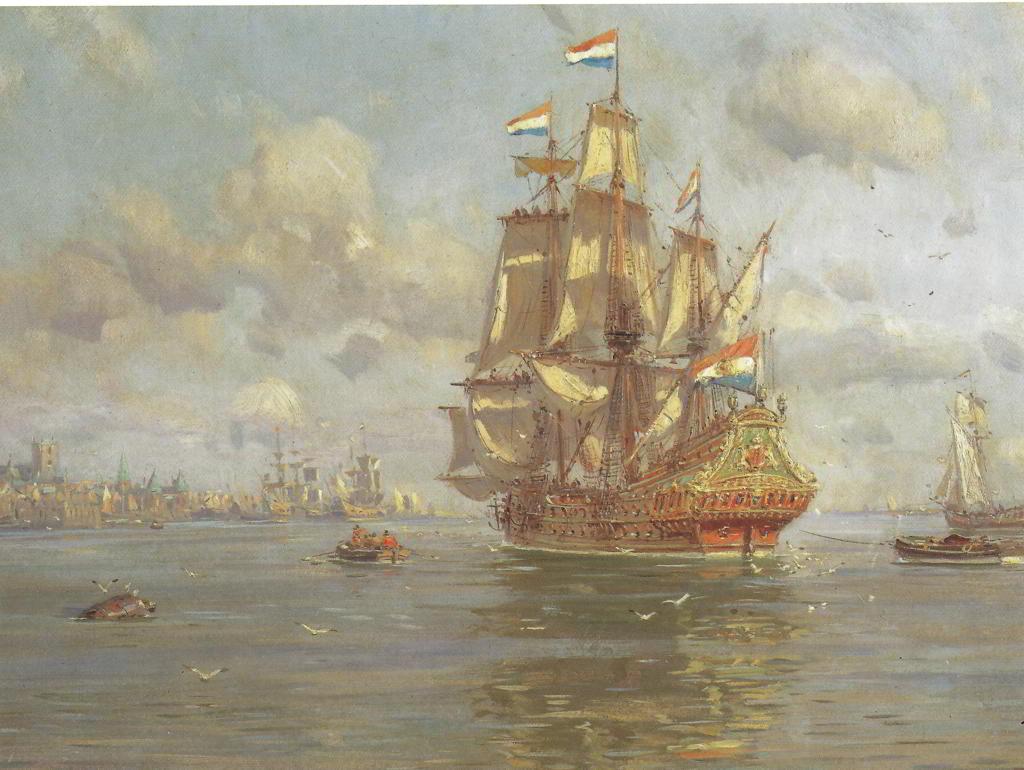 Claus Bergen (1885-1964): Holländisches Segelschiff vor einem Hafen
