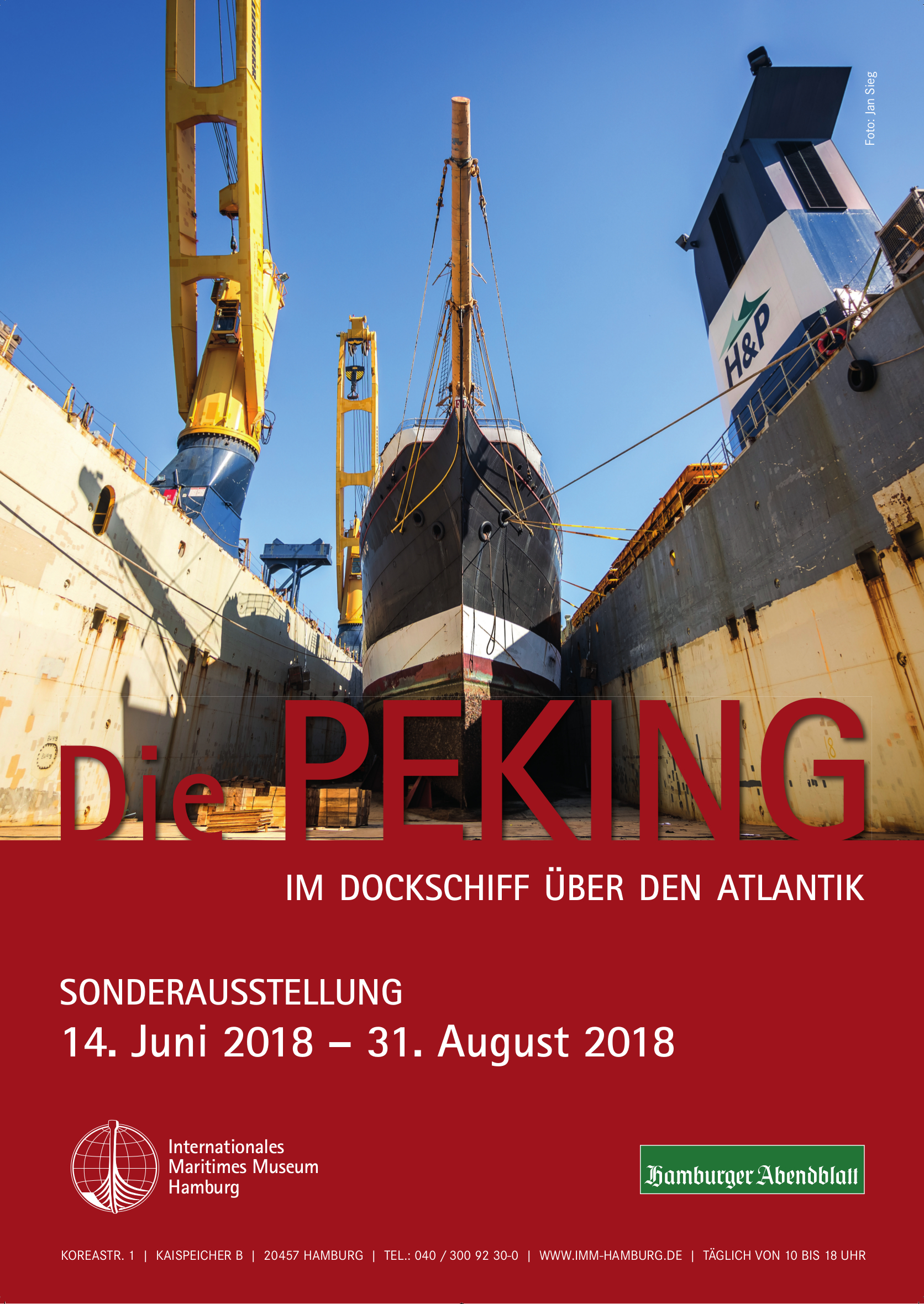 Peking Schiff Flying P-Liner Ausstellung Sonderausstellung Atlantik Fotografie Internationales Maritimes Museum Hamburg 2018 Plakat