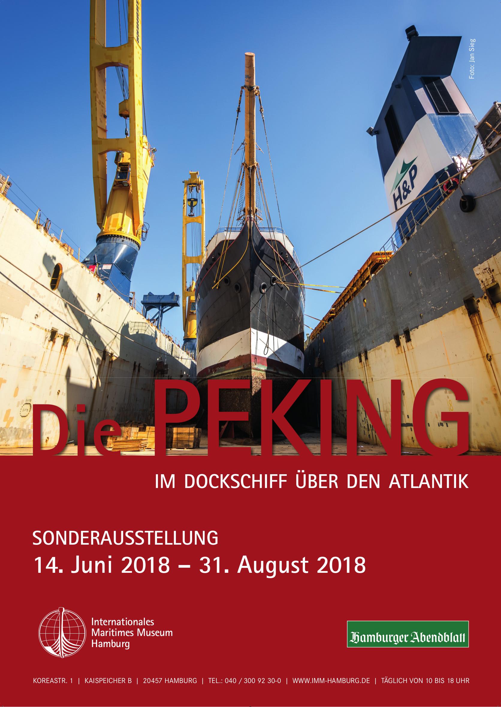 Peking Schiff Flying P-Liner Ausstellung Sonderausstellung Atlantik Fotografie Internationales Maritimes Museum Hamburg 2018 Plakat