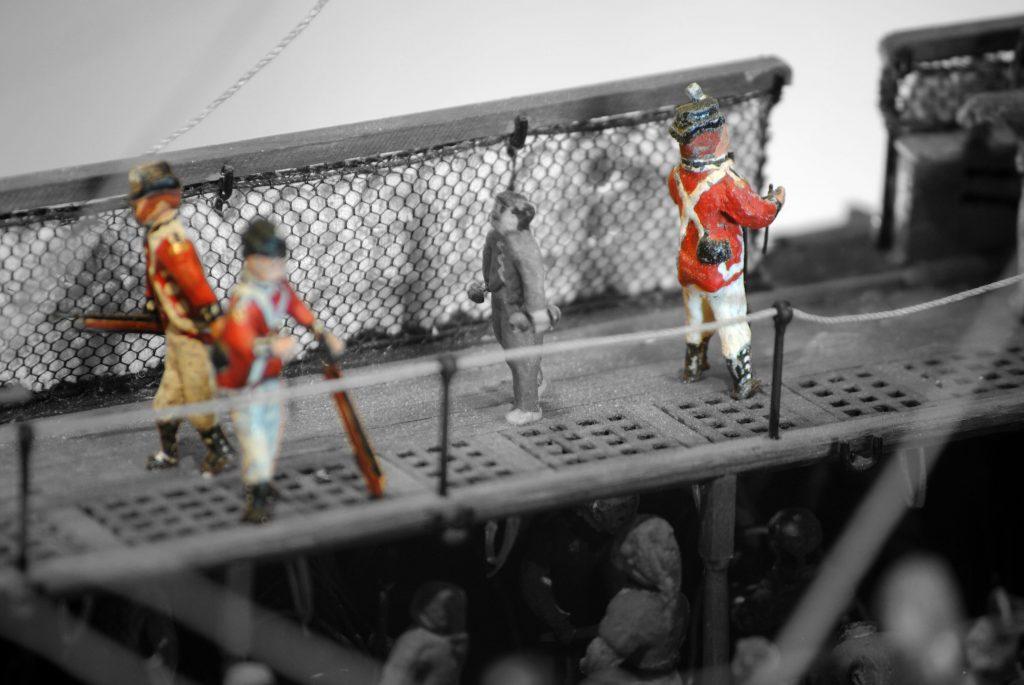 Die Marineinfanterie der Royal Navy am bord der Fregatte.