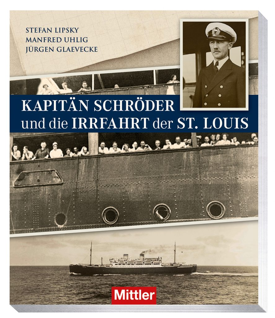 """Cover des Buches """"Kapitän Schröder und die Irrfahrt der St. Louis"""" Lesung bei WEDE im Internationalen Maritimen Museum Hamburg."""