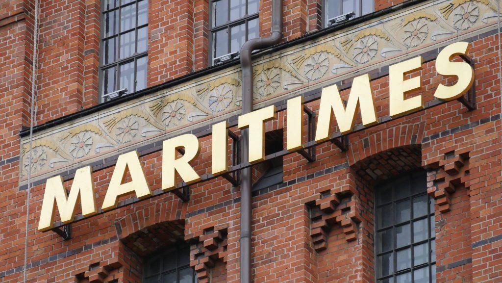 Fassade der Kaispeicher B. Internationales Maritimes Museum vorübergehend geschlossen.