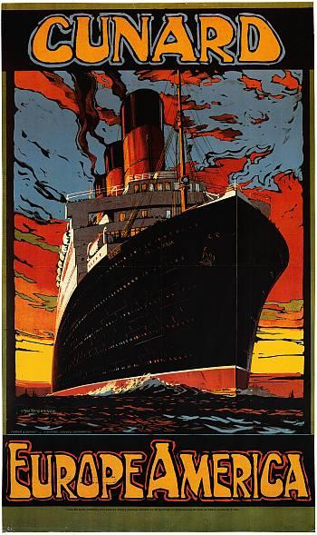 Reedereiplakat Cunard. Internationales Maritimes Museum Hamburg.