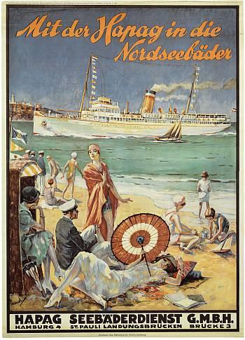 Reedereiplakate HAPAG. Internationales Maritimes Museum Hamburg.