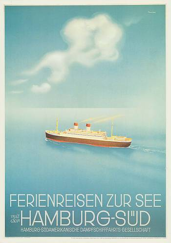 Reedereiplakate Hamburg Süd. Internationales Maritimes Museum Hamburg.
