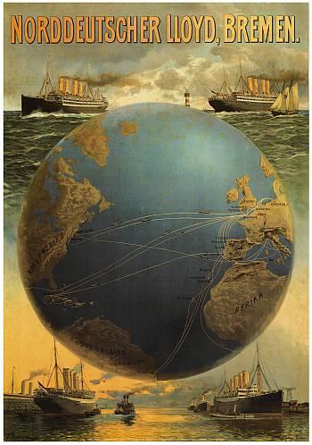 Reedereiplakat Norddeutscher Lloyd. Internationales Maritimes Museum Hamburg.