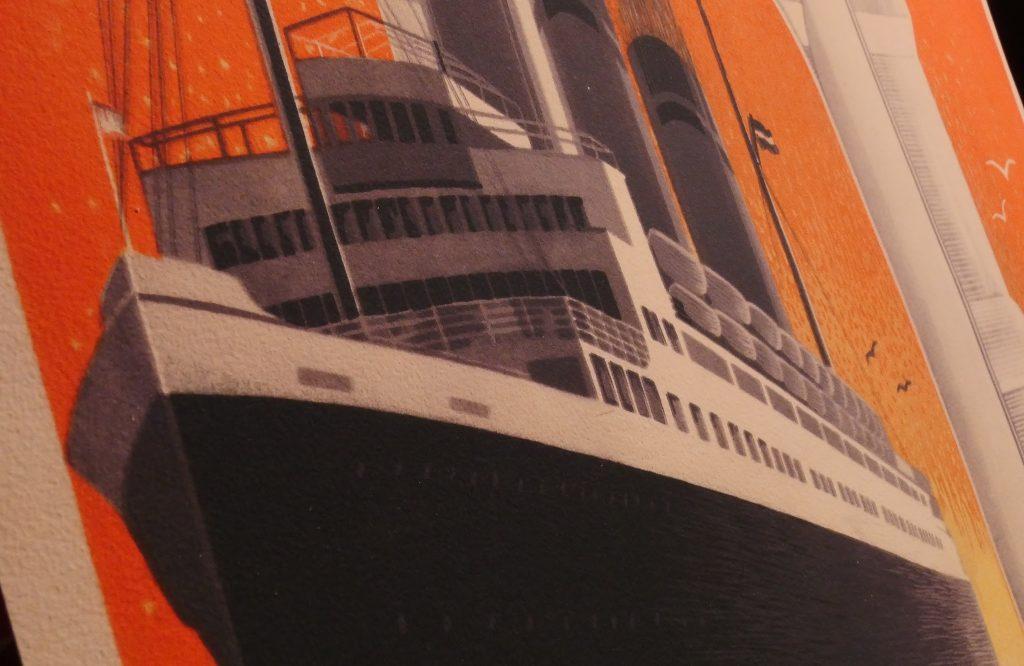 Detailblick der Papier- und Druckqualität der Reedereiplakate.