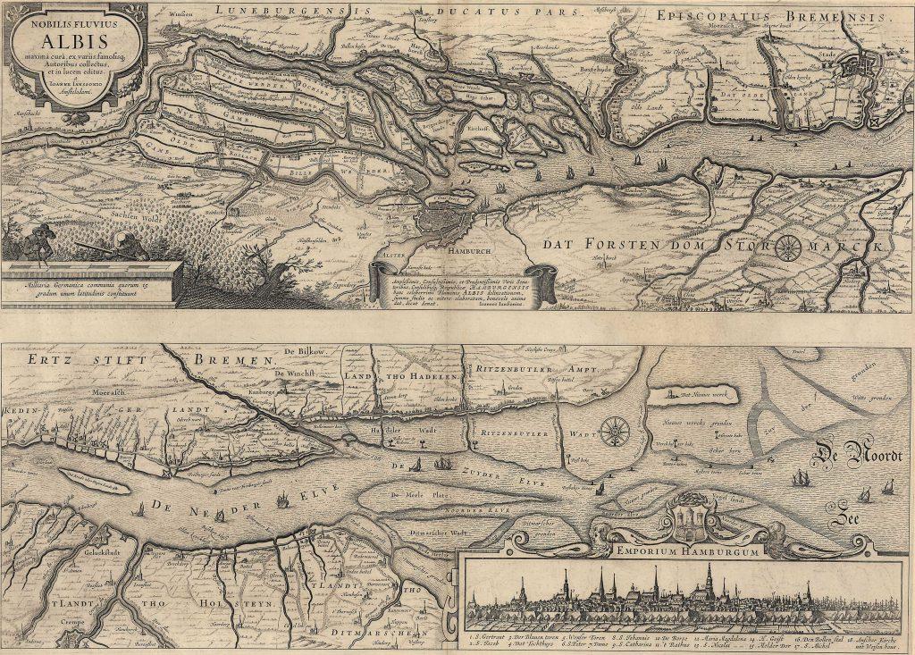 """Karte """"Nobilis Flubius Albis"""" von Johann Janssonius (1588-1664). Online Archiv Interantionales Maritimes Museum Hamburg © 2021. Alle Rechte vorbehalten. Peter Tamm Sen. Stiftung (Hamburg)."""