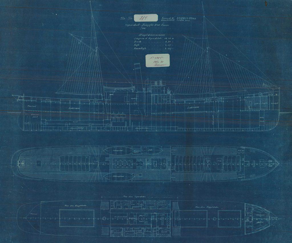 """Blaupause """"Dampfer 1150t"""" im Maßstab 1:100. Online Archiv Internationales Maritimes Museum Hamburg. © 2021. Alle Rechte vorbehalten. Peter Tamm Sen. Stiftung (Hamburg)."""