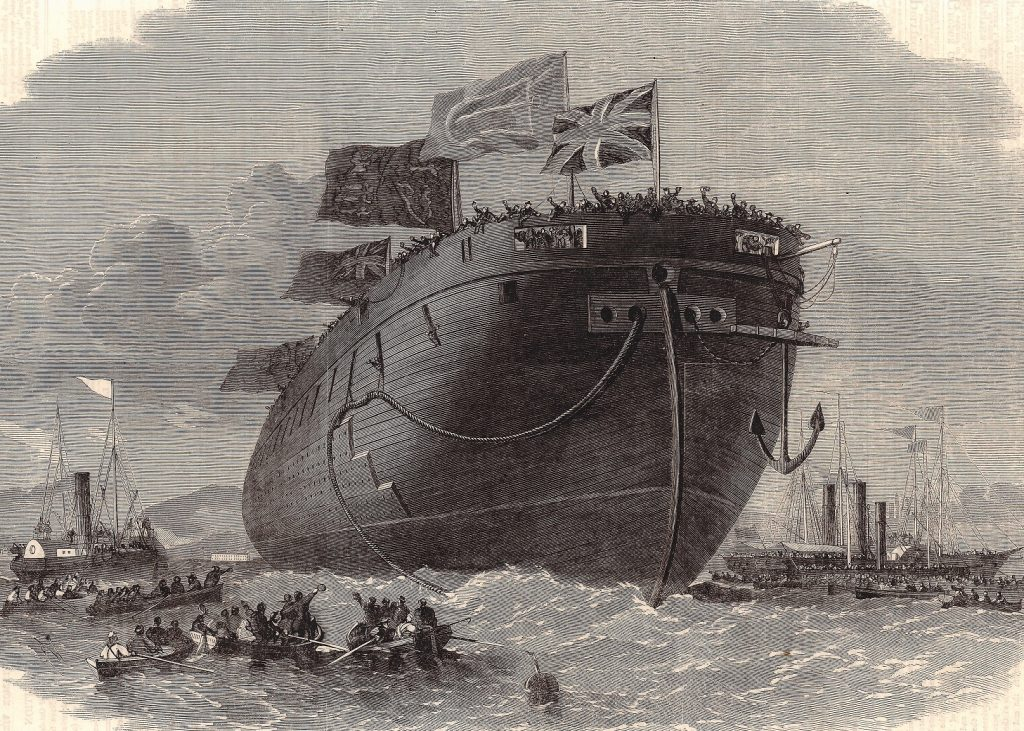 "Ein Schatz aus dem Online Archiv: Xylographie ""The new ironclad fleet: launch at Chatham Dockyard of HMS Frigate Royal Oak"", The Illustrated London, 20. September 1862. © 2021. Alle Rechte vorbehalten. Peter Tamm Sen. Stiftung (Hamburg)."