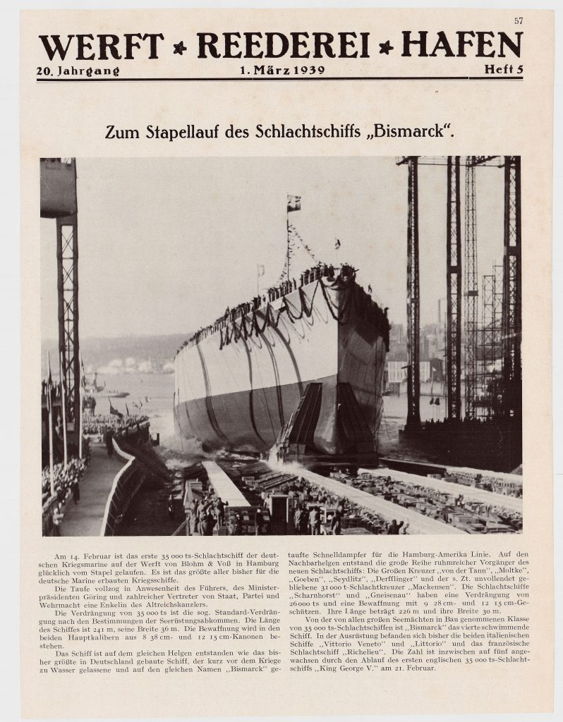 """Article on the launching of the Bismarck in the magazine """"Werft, Reederei, Hafen"""" from March the 1st 1939. Digitalization from our archives  © 2021 All rights reserved Peter Tamm Sen. Foundation (Hamburg)"""