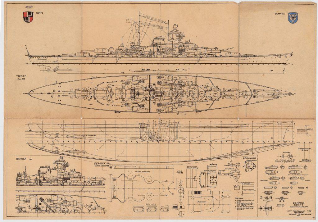 """Bauplan der Schlachtschiffe """"Bismarck"""" und """"Tirpitz"""" gezeichnet in 1951. Digitalisat der Archiven © 2021 Peter Tamm Sen. Foundation (Hamburg)"""