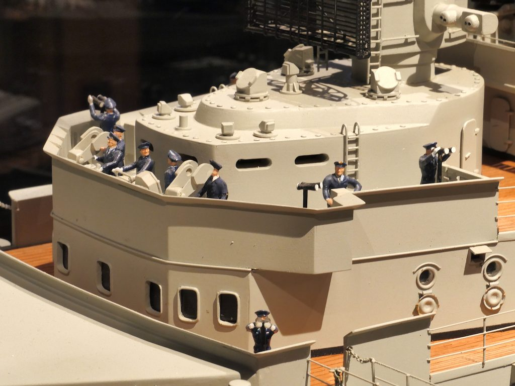 The 1:100 scale model of the battleship Bismarck built by Helmut Schmid and displayed at the Internationales Maritimes Museum Hamburg.