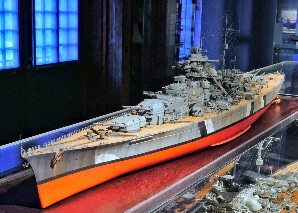 A model of the Battleship Bismarck built by Wolfgang Wurm in a scale of 1:200 on Deck 5 of the International Maritime Museum Hamburg.