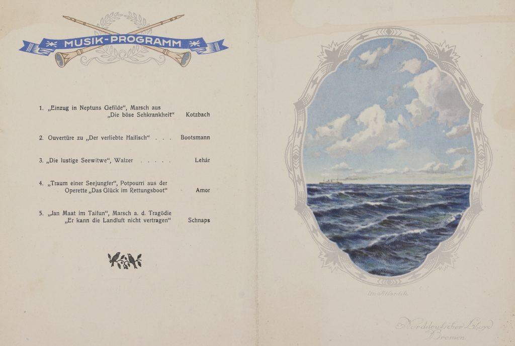 """Konzertprogramm am Bord der Dampfer """"Werra"""". Historische Speisekarten: Online Archiv Internationales Maritimes Museum Hamburg."""