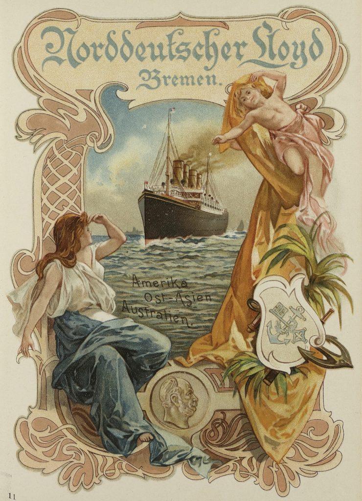 """Historische Speisekarte für das Mittagessen auf dem Dampfer """"Lahn"""" am 3.November 1900 auf der Reise Amerika – Asien – Australien."""
