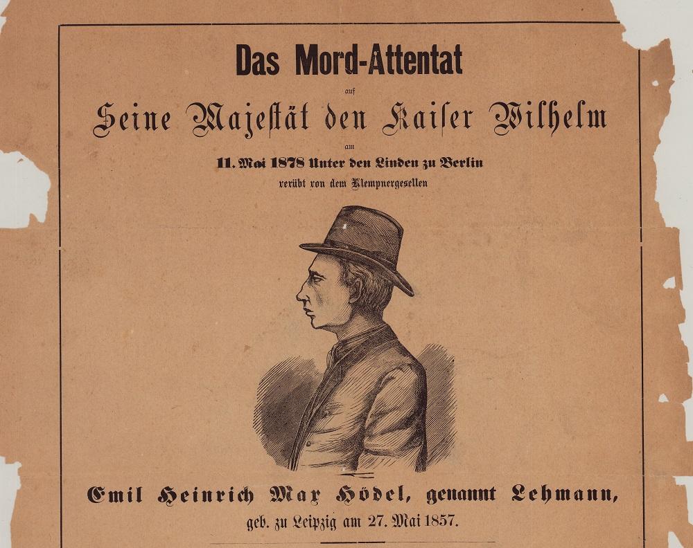 """Ausschnitt Extrablatt """"Das Mord-Attentat auf Seine Majestät den Kaiser Wilhelm …"""" (1878) aus der Extrablätter Sammlung des Internationalen Maritimen Museum Hamburg."""