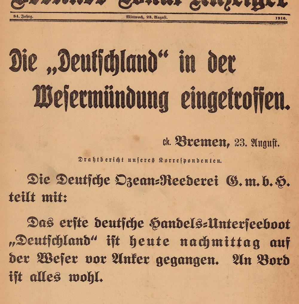 Ausschnitt Extrablatt Berliner Lokal-Anzeiger (23.08.1916) aus der Extrablätter Sammlung des Internationalen Maritimen Museum Hamburg.