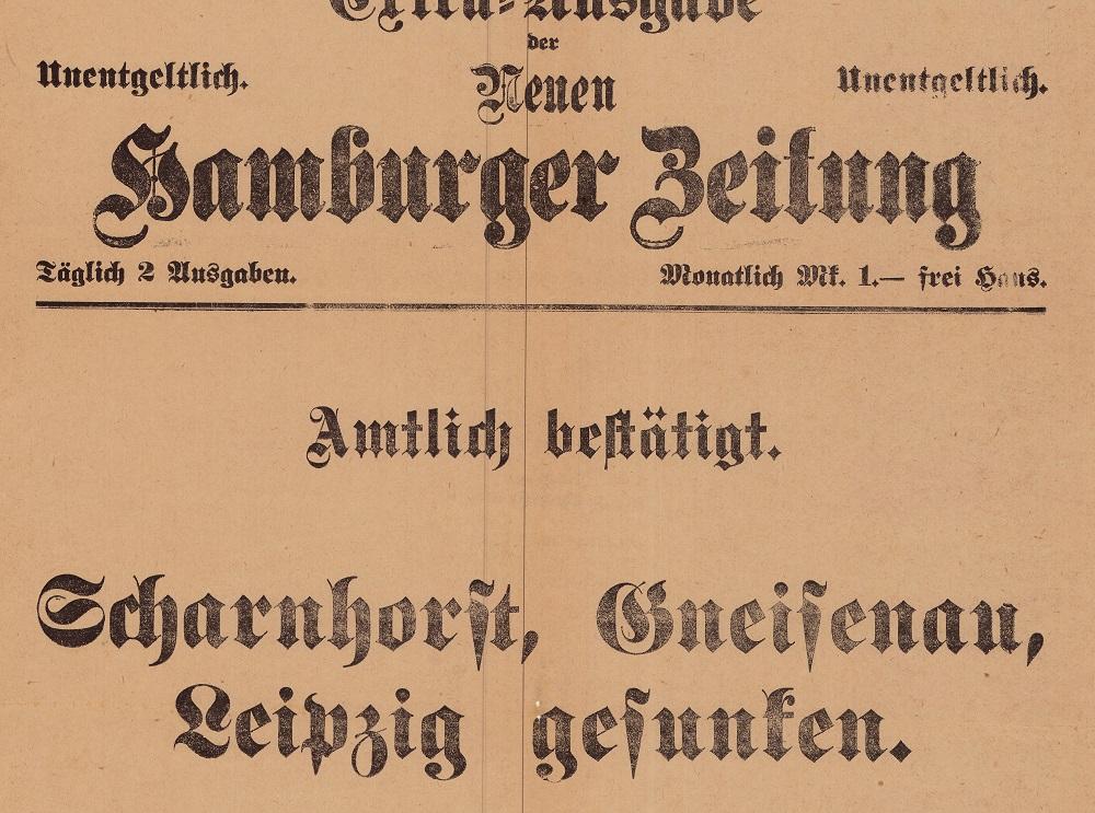 Ausschnitt der Extra-Ausgabe der Neuen Hamburger Zeitung (10.12.1914) aus der Extrablätter Sammlung des Internationalen Maritimen Museum Hamburg.