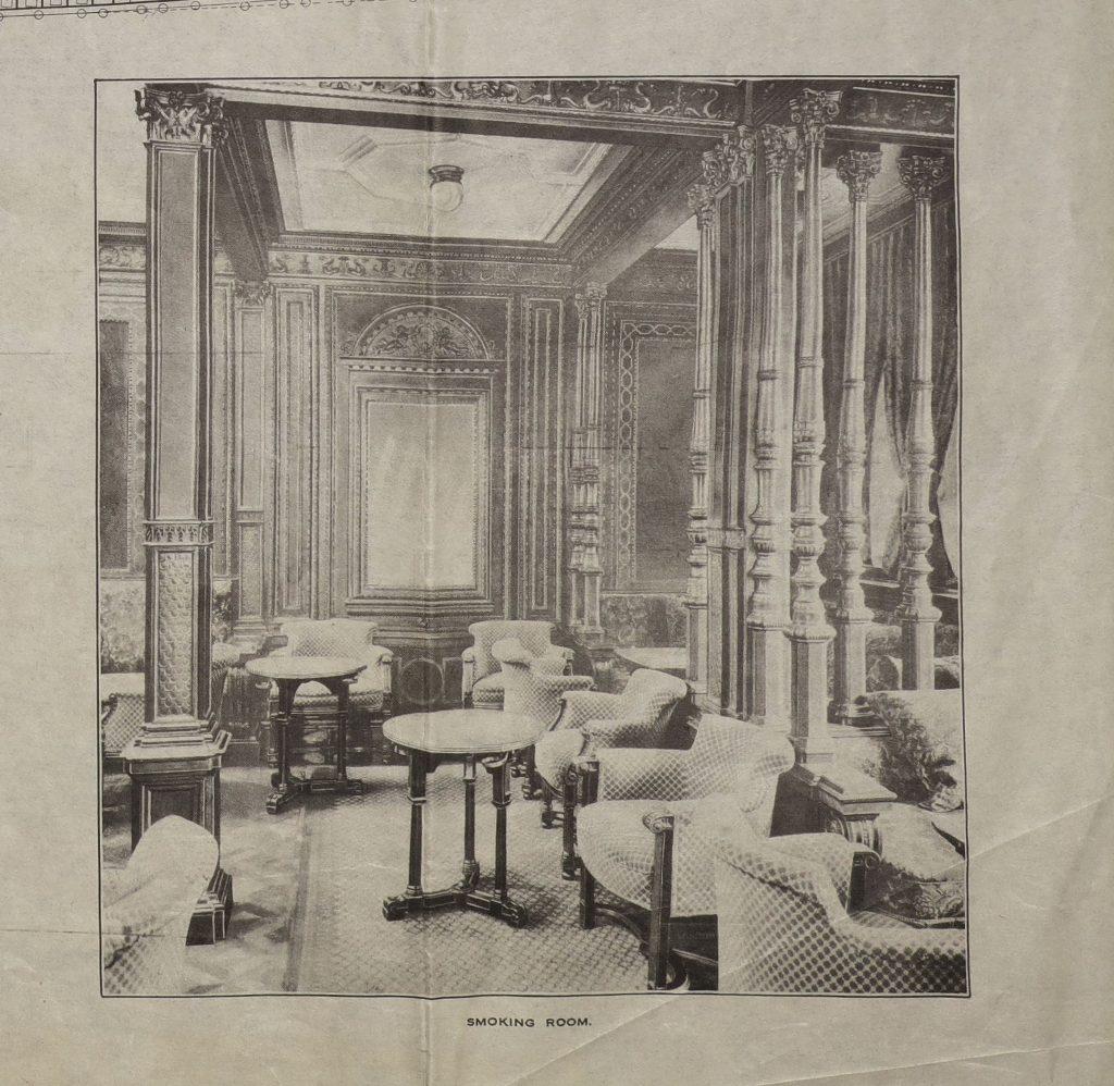 """Decks- und Kabinenpläne der Ocean Liner """"Mauretania"""" (R-1-5004). Luxuriöser Rauchersalon. Online Archiv des Internationalen Maritimen Museum Hamburg."""