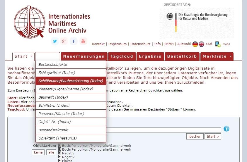 Anleitung für das Online-Archiv. Abbildung 1.