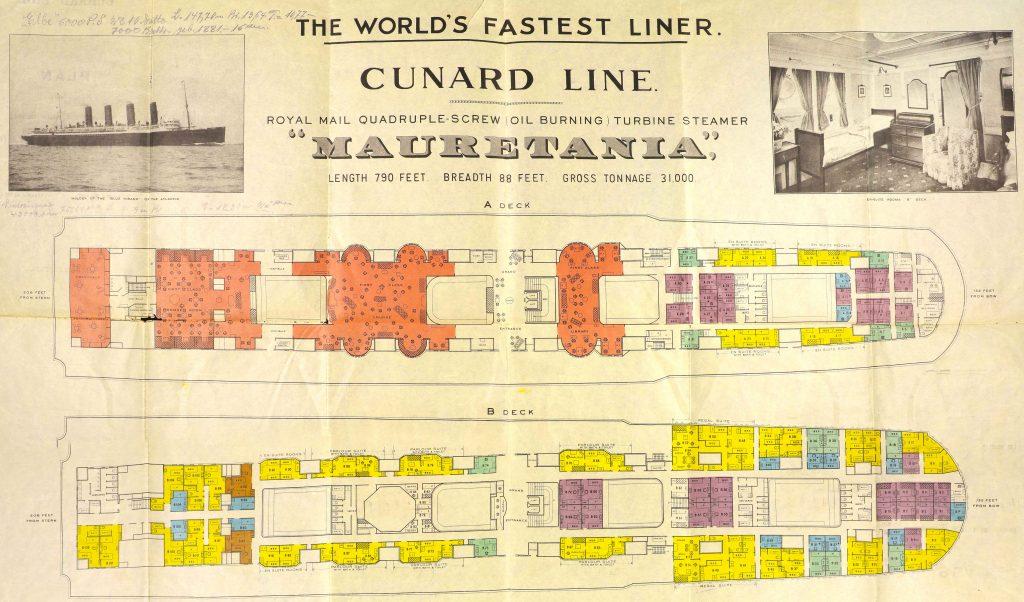 Decks- und Kabinenpläne der Oceanliner Mauretania der Cunard Line aus den Online Archiv des Internationalen Maritimen Museum.