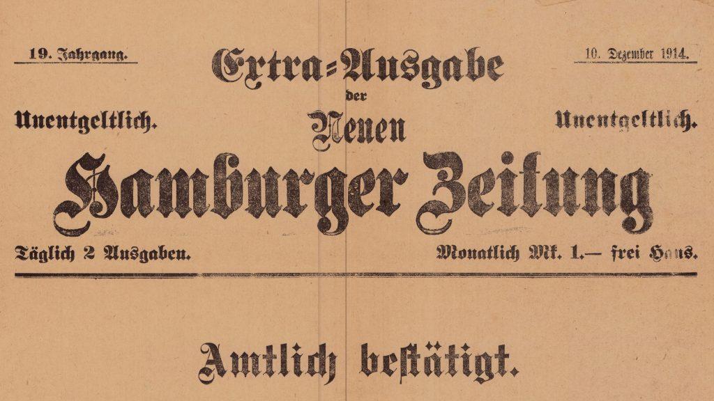 """""""Extra-Ausgabe der Neuen Hamburger Zeitung"""" 10. Dezember 1914, aus der Extrablätter Sammlung des Internationales Maritimes Museum Hamburg,"""