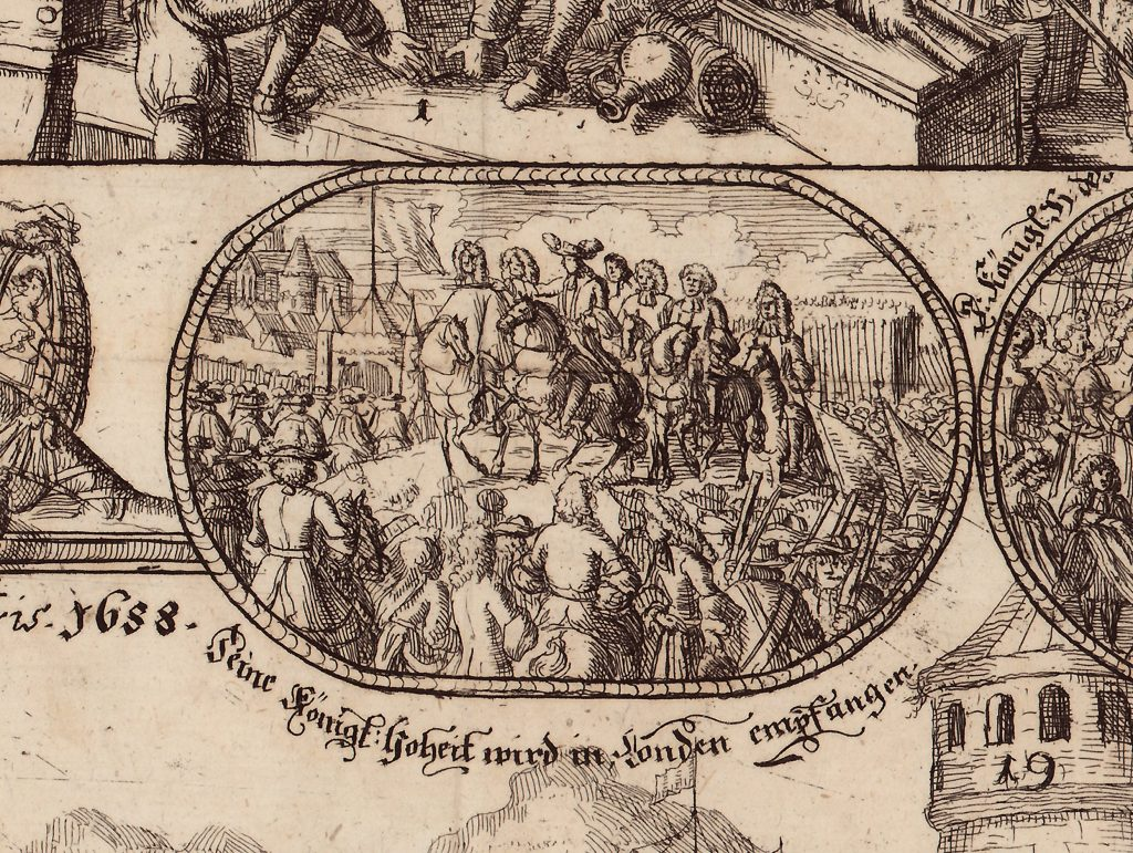 """Detail des Kupferstiches """"Seine Königliche Hoheit wird in London empfangen"""". Online Archiv Internationales Maritimes Museum Hamburg."""