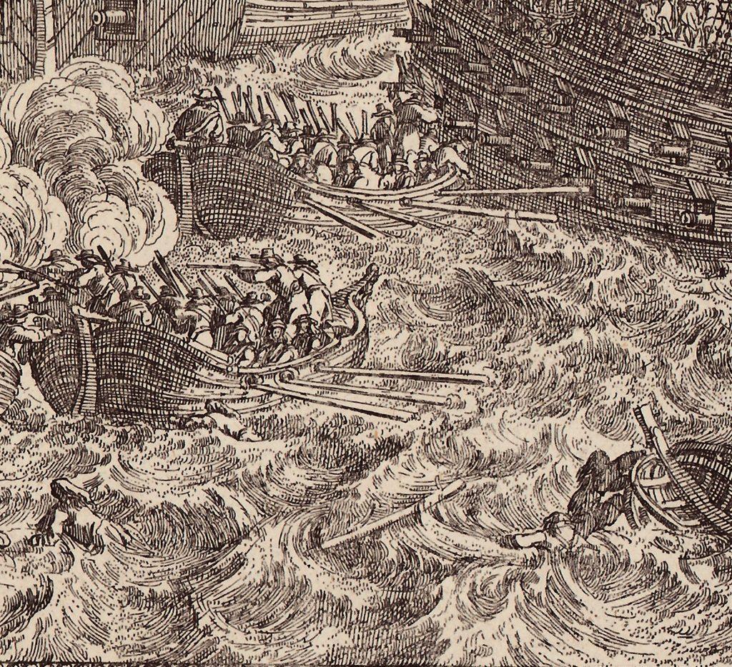 """Ausschnitt aus """"Pugna Navalis in ipsis .."""". Kupferstiche im Online Archiv des Internationalen Maritimen Museum Hamburg."""