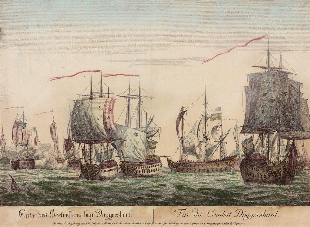 """Kolorierter Kupferstich """"Ende des Seetreffens bey Doggersbank!"""" (1781) Sammlung Kupferstiche Online Archiv Internationales Maritimes Museum Hamburg."""